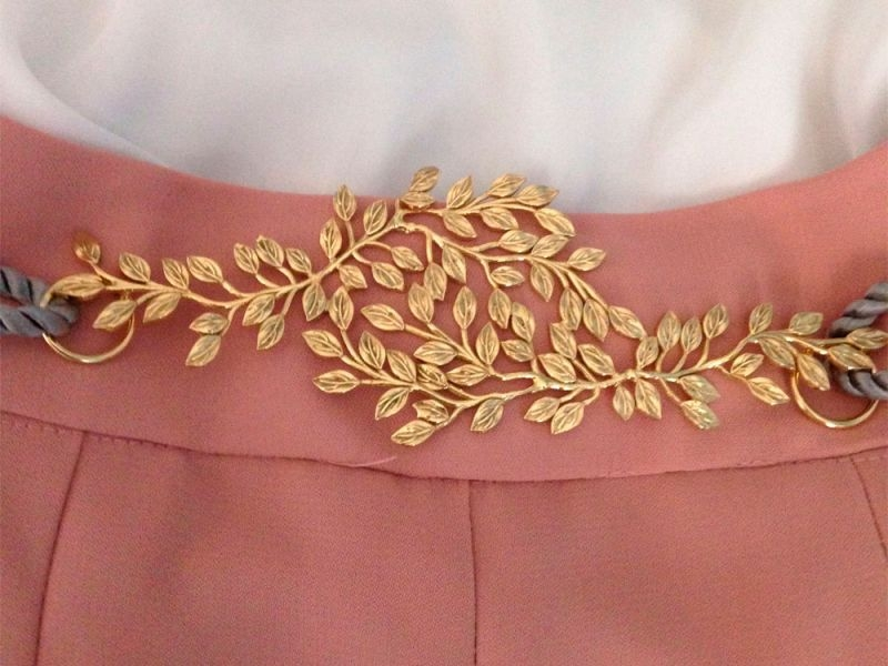 58be39861 Cinturon de hojas dorado con cordon beige,negro,rosa palo,azul