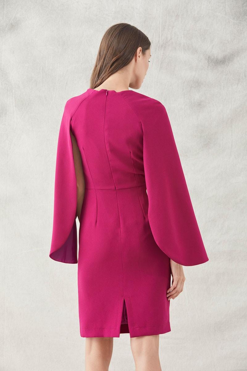 vestido corto mangas capa frambuesa