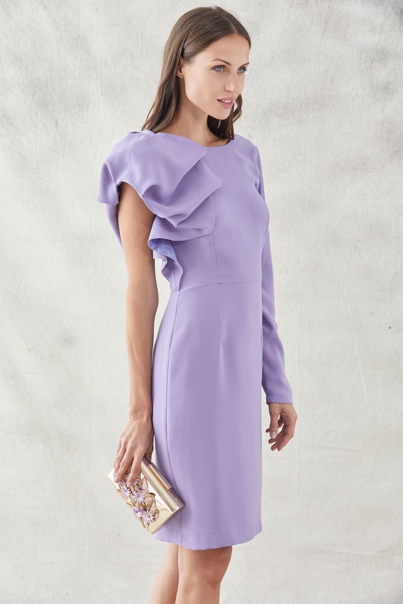 vestido corto lila manga abullonada y manga larga