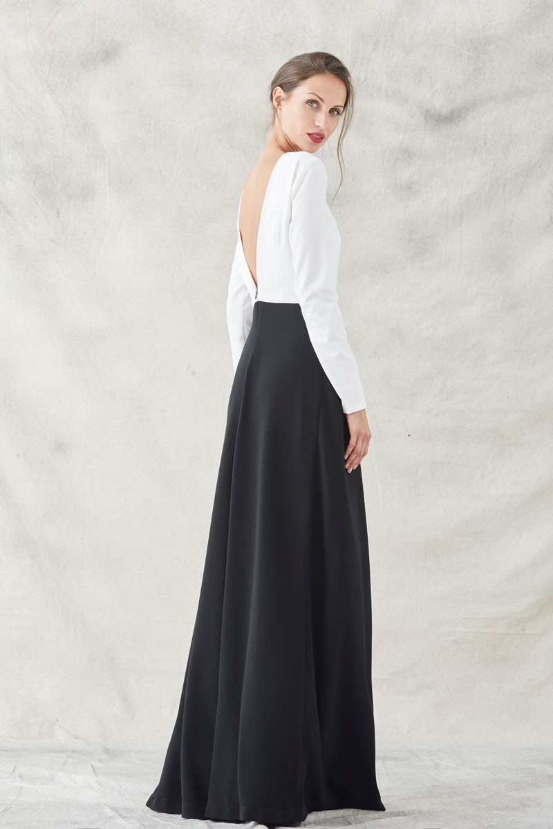 0bde3d3395c1f vestido blanco y negro largo con bordado de pez manga larga cuello redondo  apparentia vestidos de