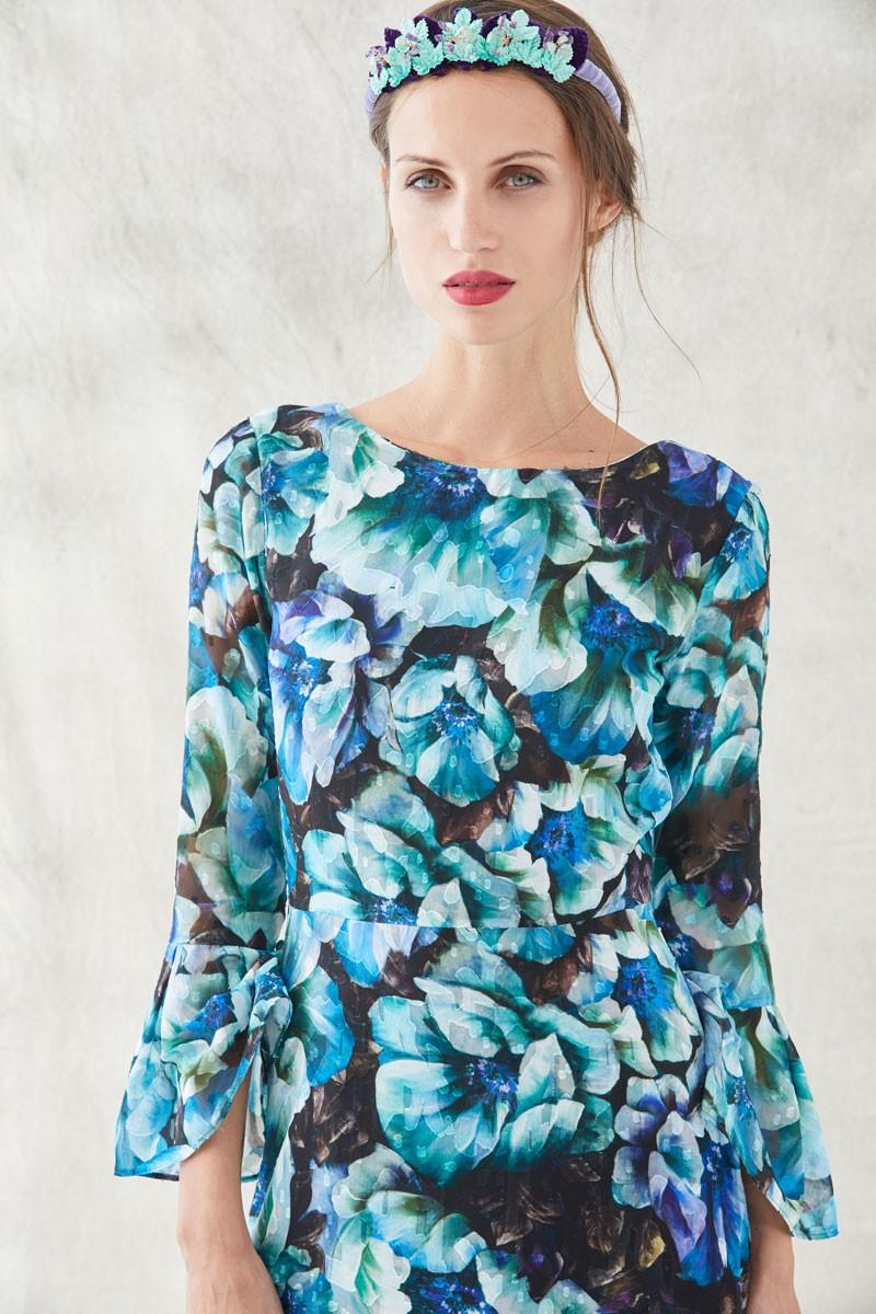 vestido lago estampado flores verdes azules moradas con
