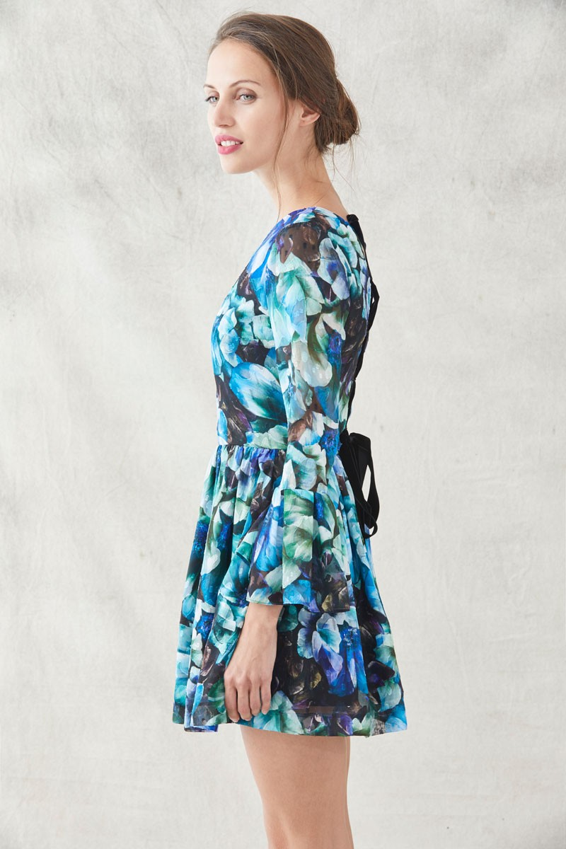 Vestido Vuelo Flores Espalda Lazada Florence