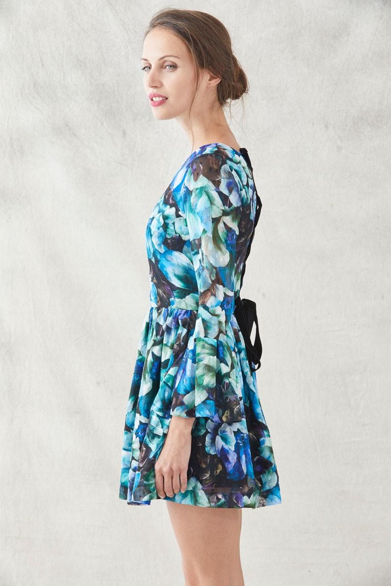 Vestido fiesta flores azules