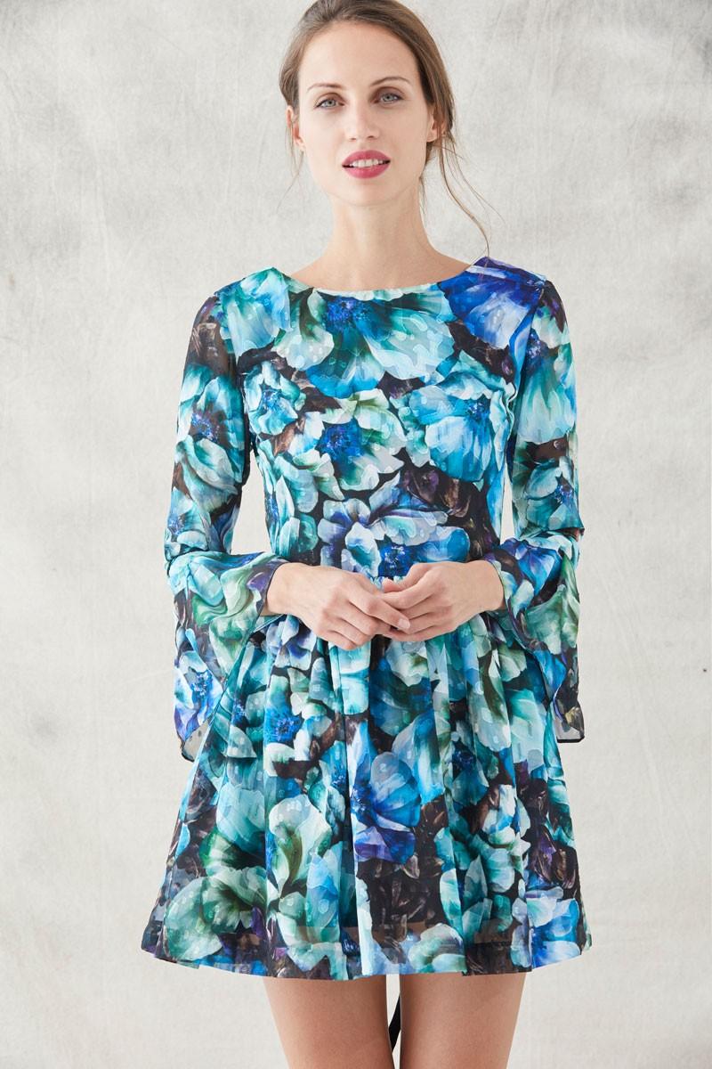 3ea8b9a0e vestido corto de vuelo estampado mangas largas con volantes para eventos  bodas invitadas shopping