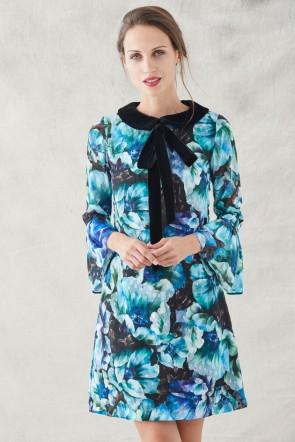 7923186cb comprar vestido corto evase estampado flores verdes azules moradas con  volantes en las mangas largas y
