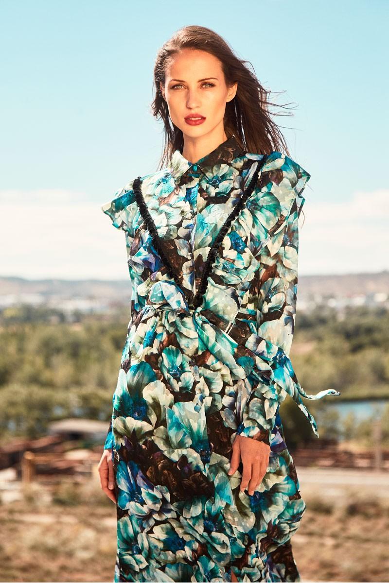 vestido largo camisero crepe devore estampado de flores