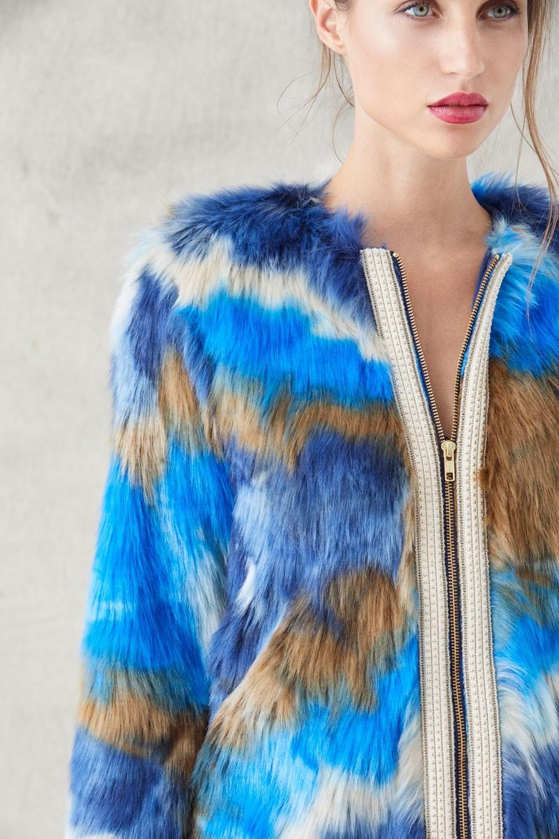 38c5a3cb7ce abrigo pelo vison sintetico azul marron beige