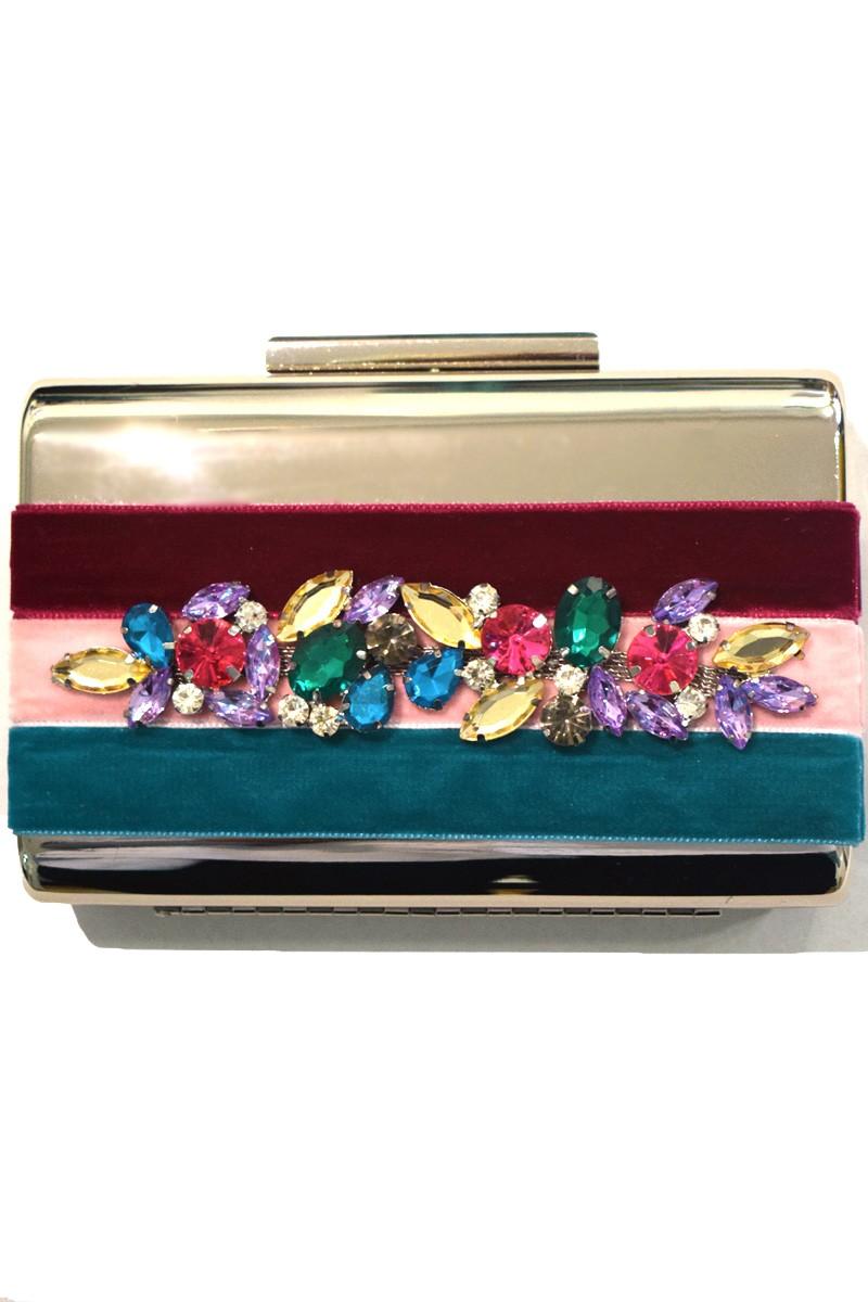 ee900a2c7 bolso de fiesta tiras de terciopelo frambuesa rosa verde agua con joya  flores colores complemento ideal