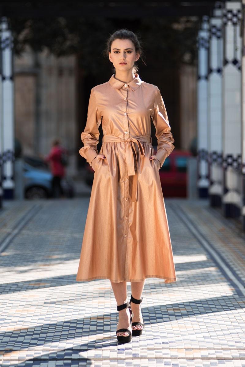 aa4e5482c vestido midi camisero algodon encerado oro tostado rosa botones dorados con  cinturon y manga larga para