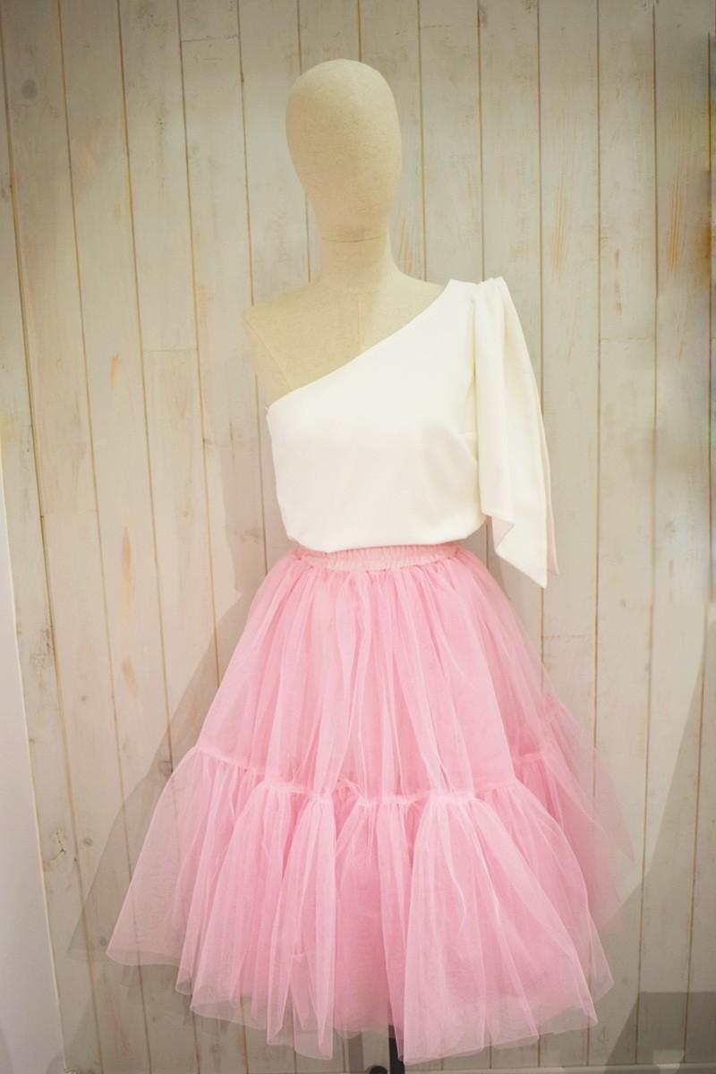 falda de tul rosa chicle de fiesta