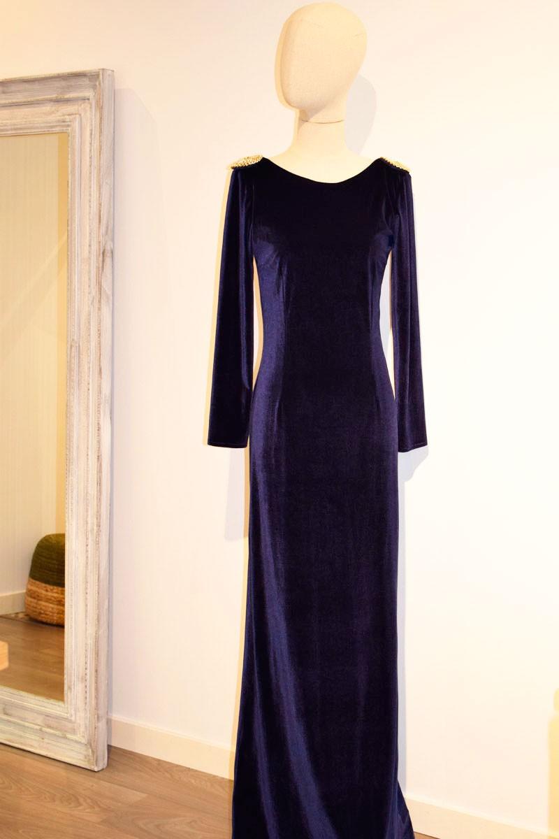Vestido azul marino boda noche