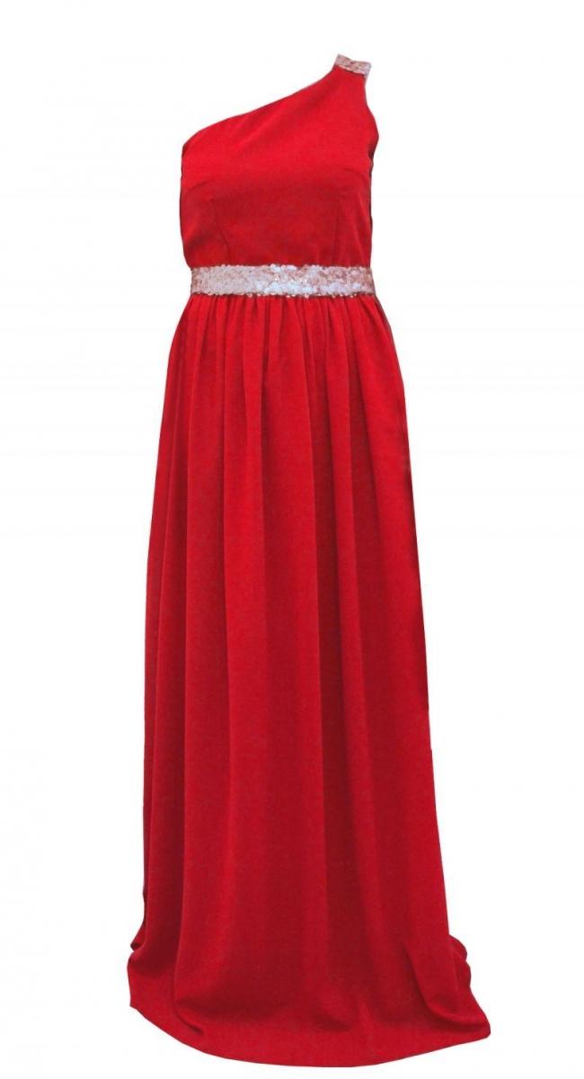 vestido largo rojo asimetrico con lentejuelas en hombro y cinturon 50ad6ad21272