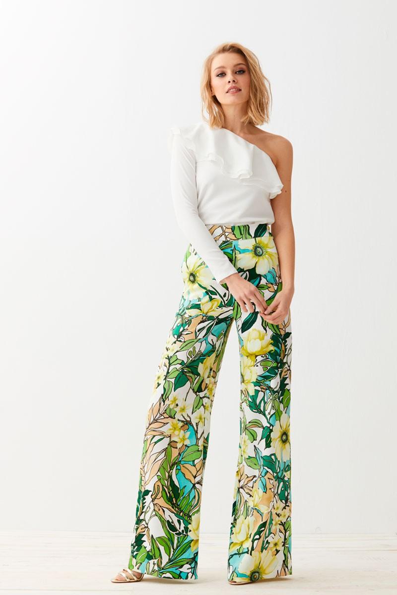 comprar online precioso pantalon palazzo confeccionado en piel de angel de  pernera ancha con estampado de 8e86b051b9a