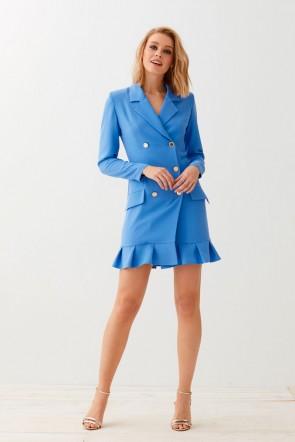 4b653517d comprar online vestido corto esmoquin azul de manga larga escote en pico  botonadura con seis botones
