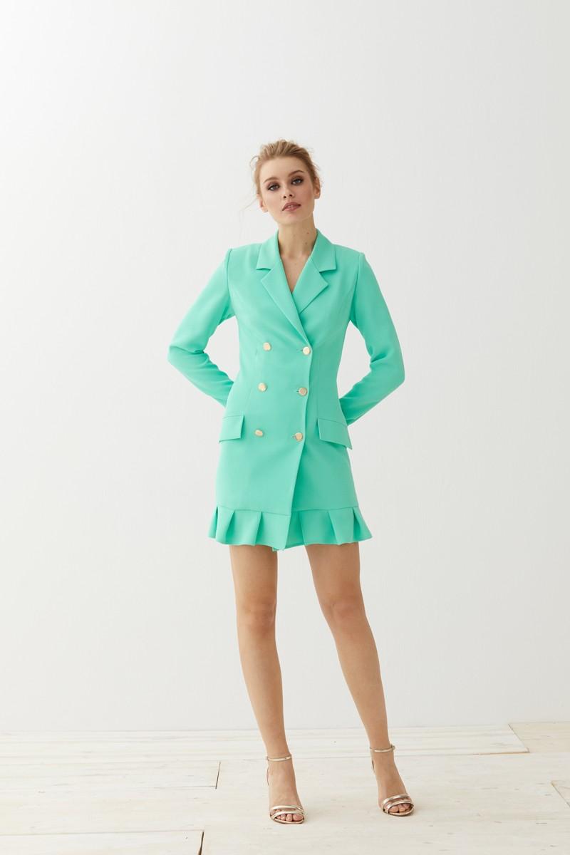 vestido corto esmoquin aguamarina con volante kassia