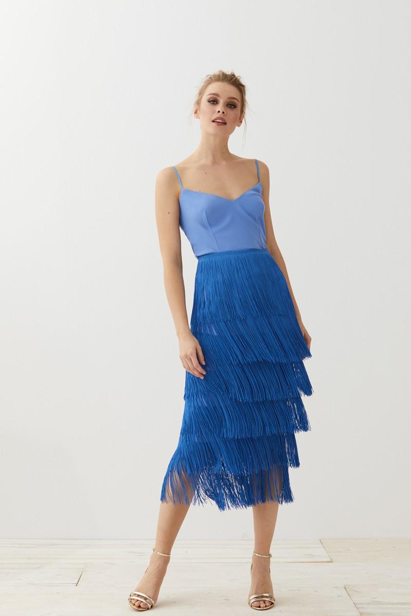 90adfaf6e Falda Flecos Azul Elina