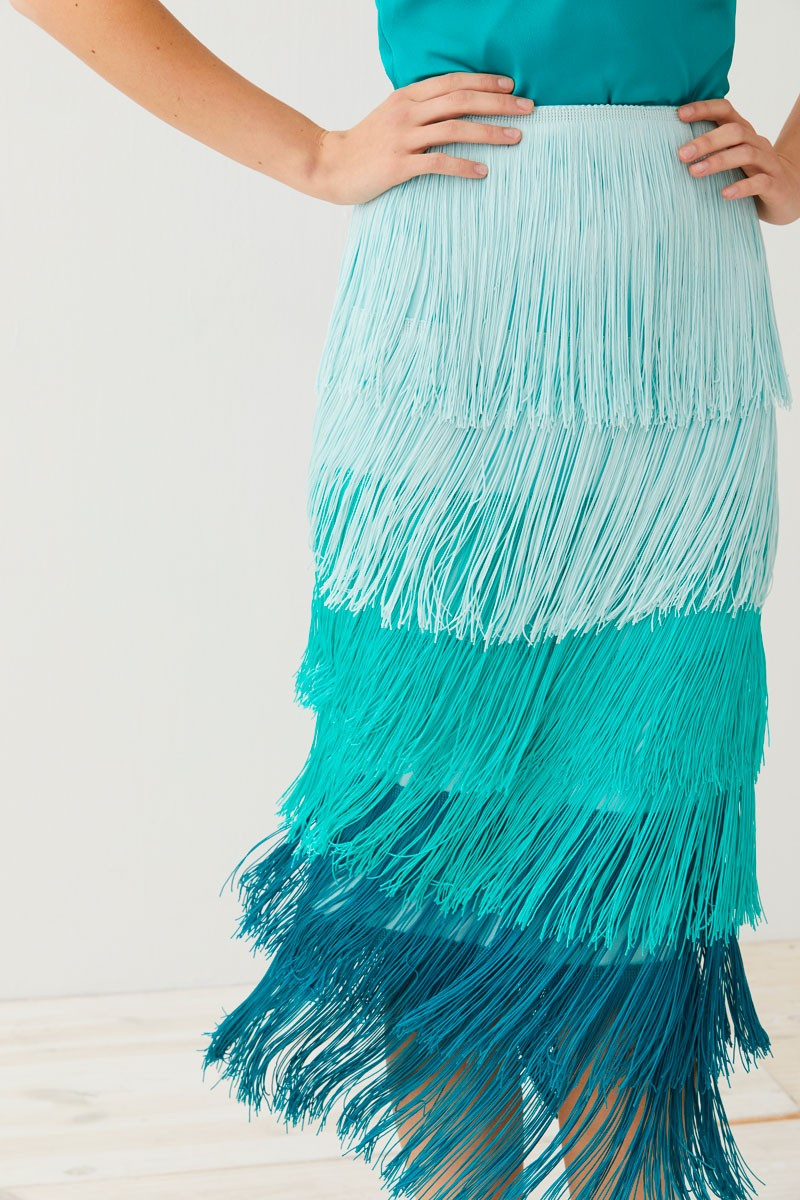 aquamarine fringed skirt