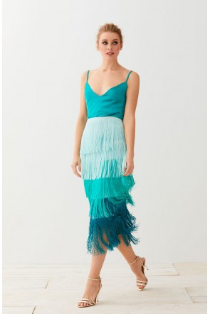 aquamarine fringed skirt. Ideal set for wedding guests