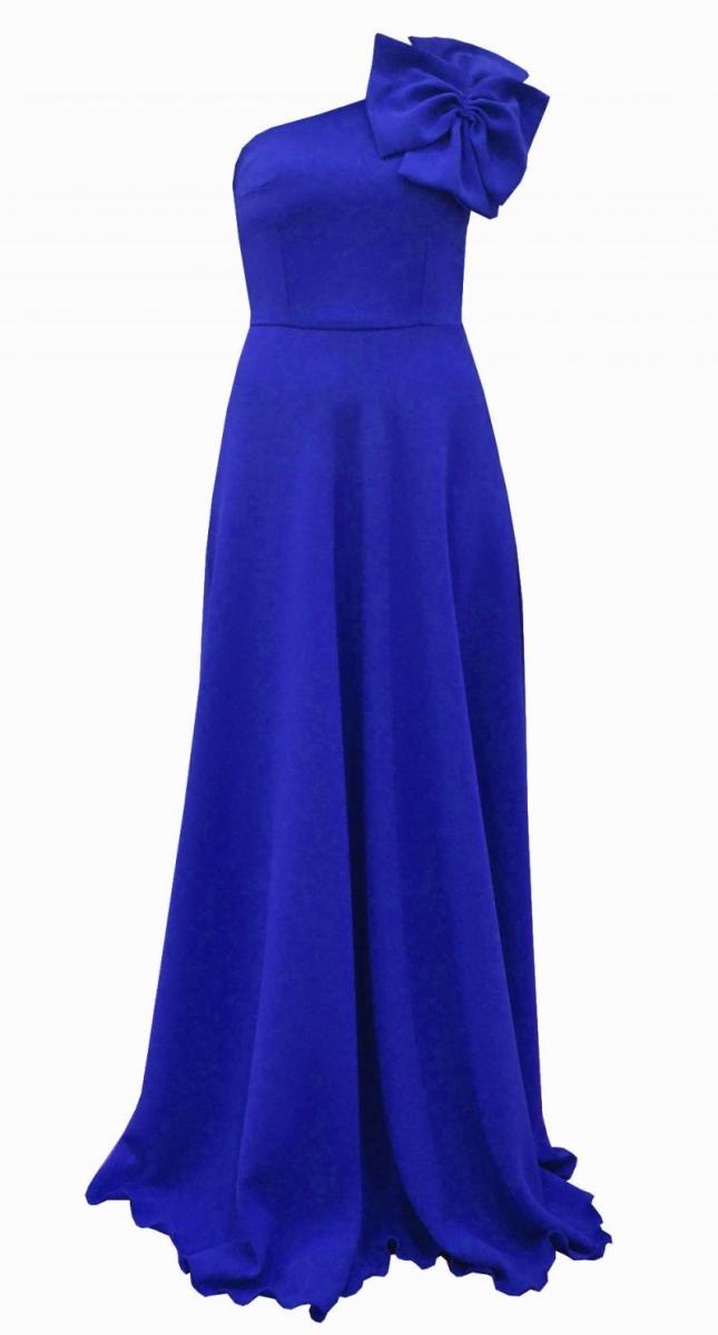 Vestido de fiesta asimetrico largo azul klein para boda