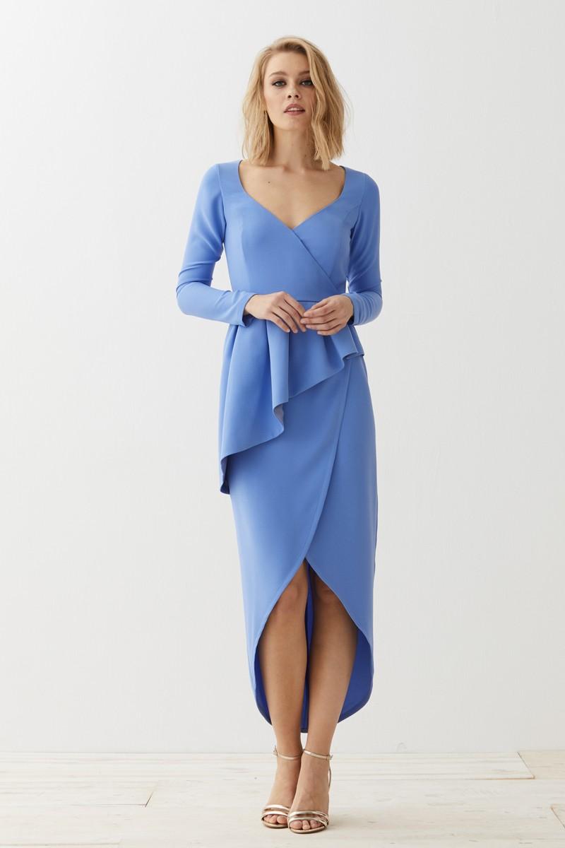 diseño profesional calidad autentica últimos lanzamientos Vestido Midi Azul Peplum Adrienne
