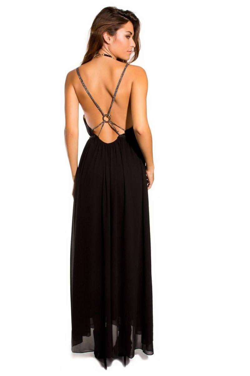 Vestido negro largo escote espalda