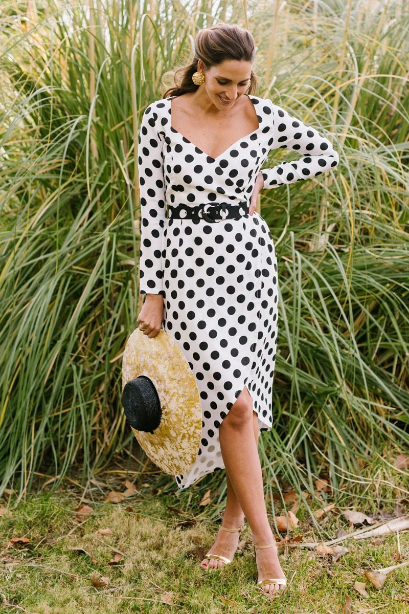 Dress Polka Dot Belt With Midi derBoCx