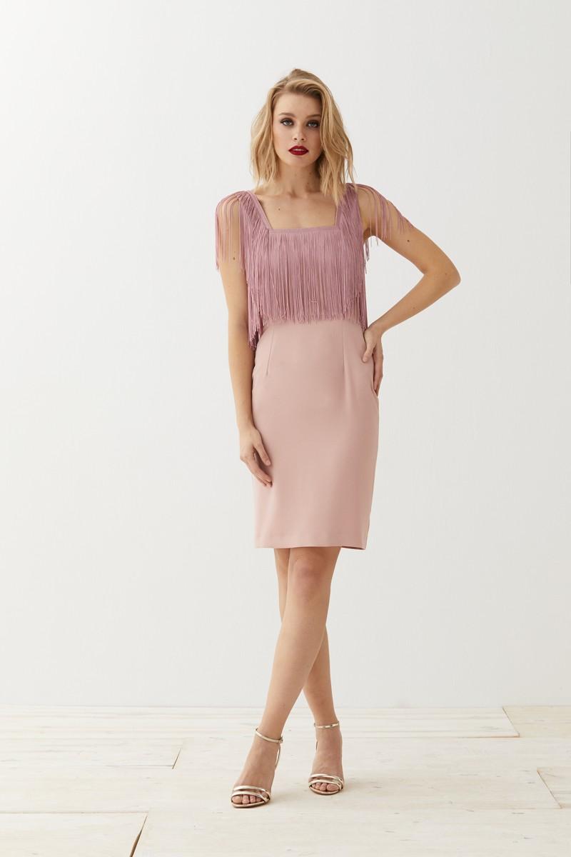 Vestido Corto Rosa Flecos Elissa
