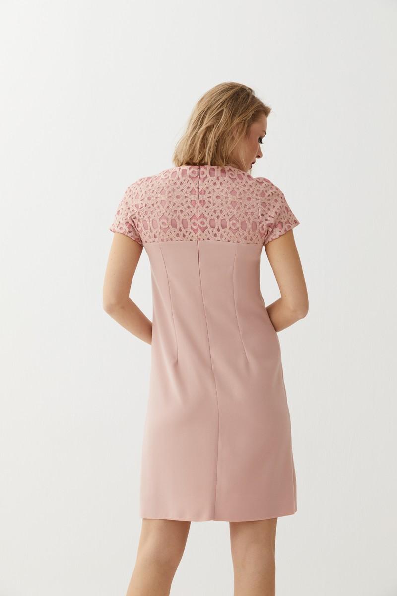 Vestido Evasé Brocado Crepe Rosa Dasha