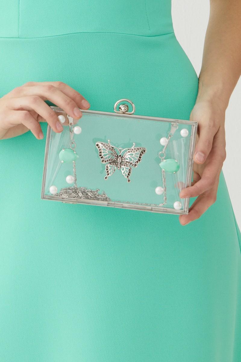977073e25a4 bolso de fiesta clutch metacrilato con piedras y mariposa plata para  invitada boda bautizo evento de