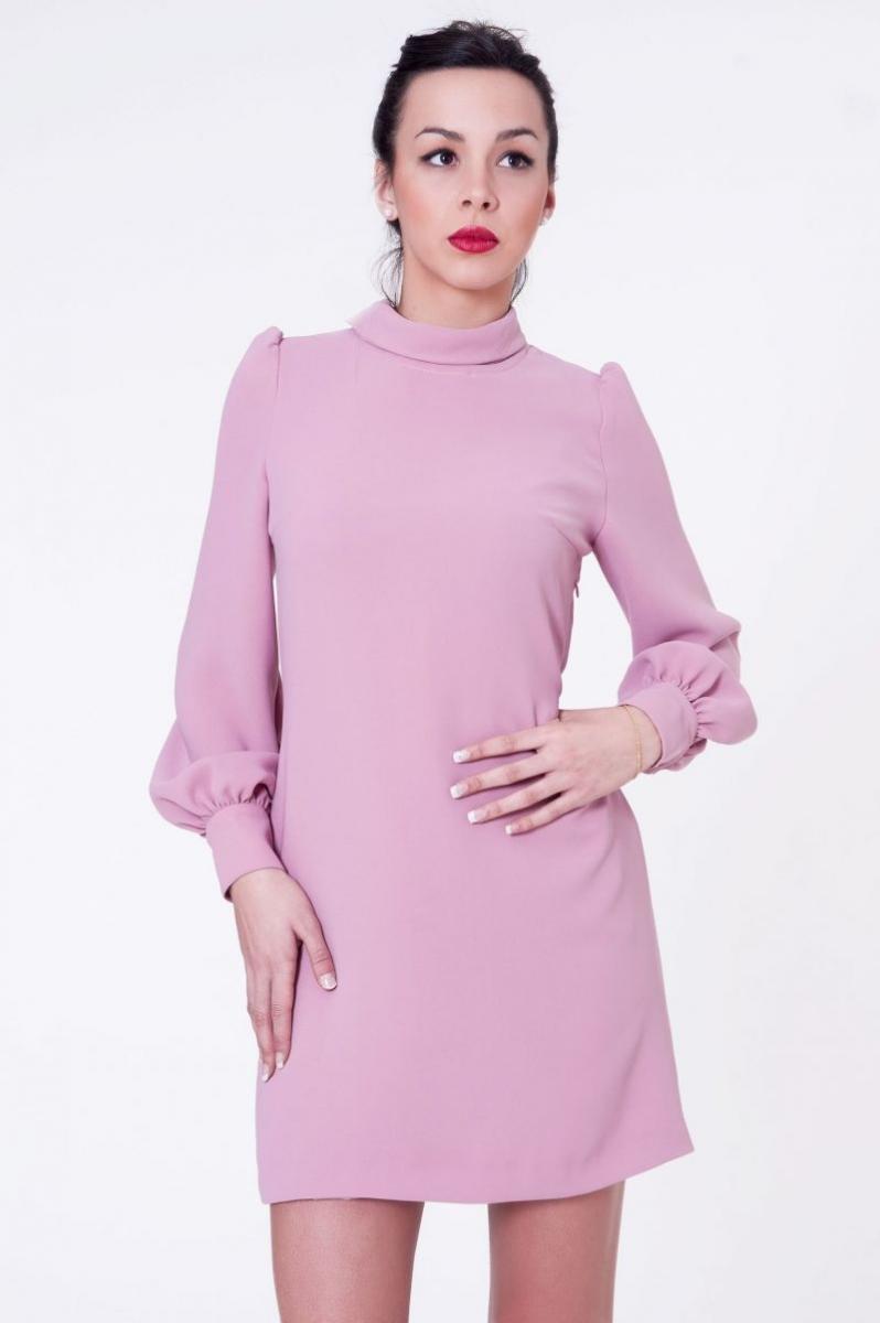 Vestido rosa palo con lazada al cuello de blancaspina