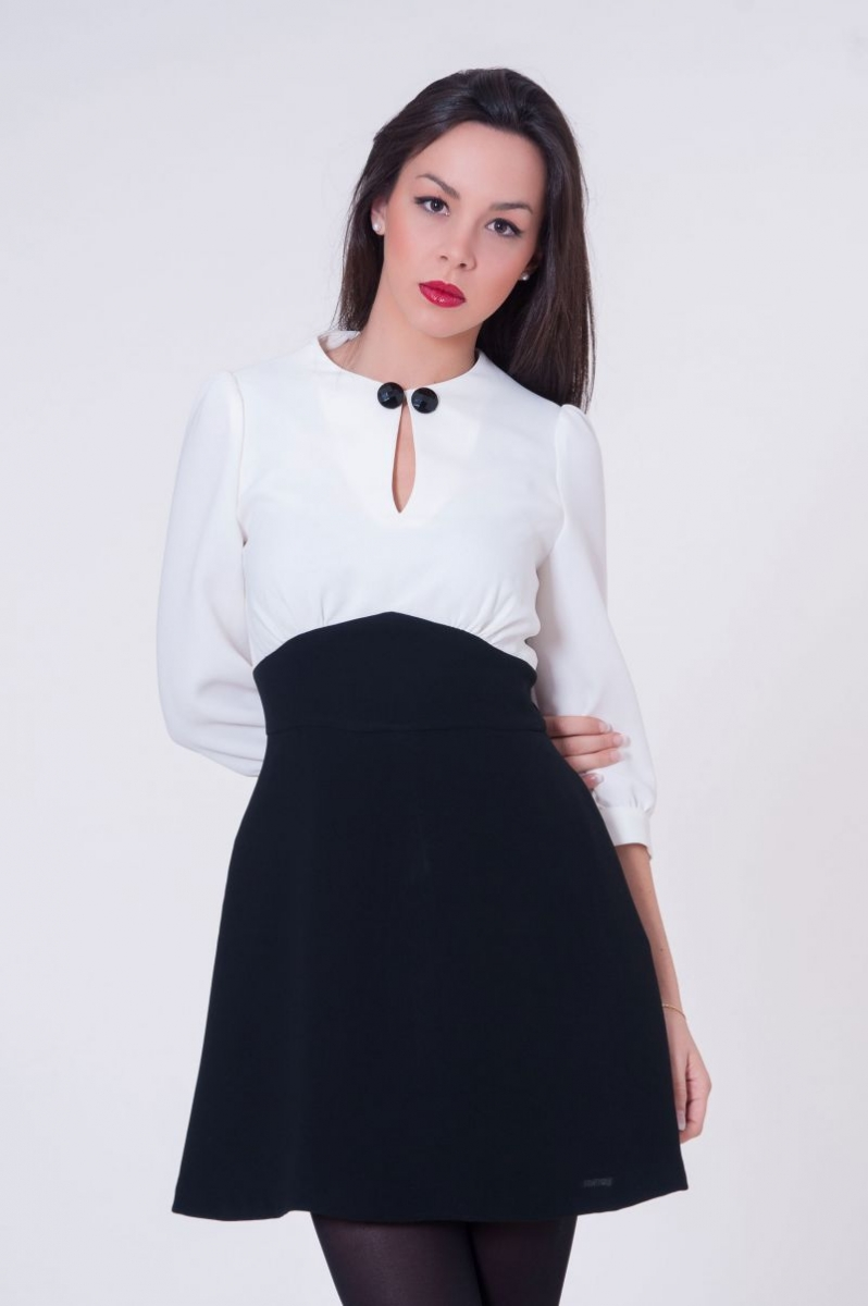 Vestidos cortos en color blanco y negro