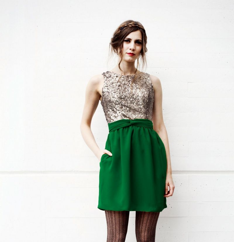 35119b01b vestido nochevieja corto con lentejuelas y falda de gasa verde de arimoka  tienda online