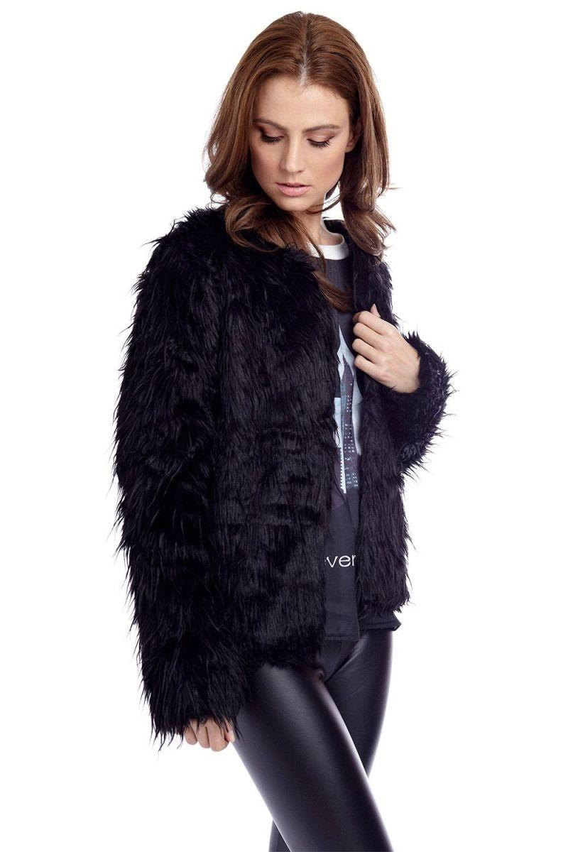 Abrigo de pelo negro de piel sint 233 tica chaqueta de pelo oto 241 o