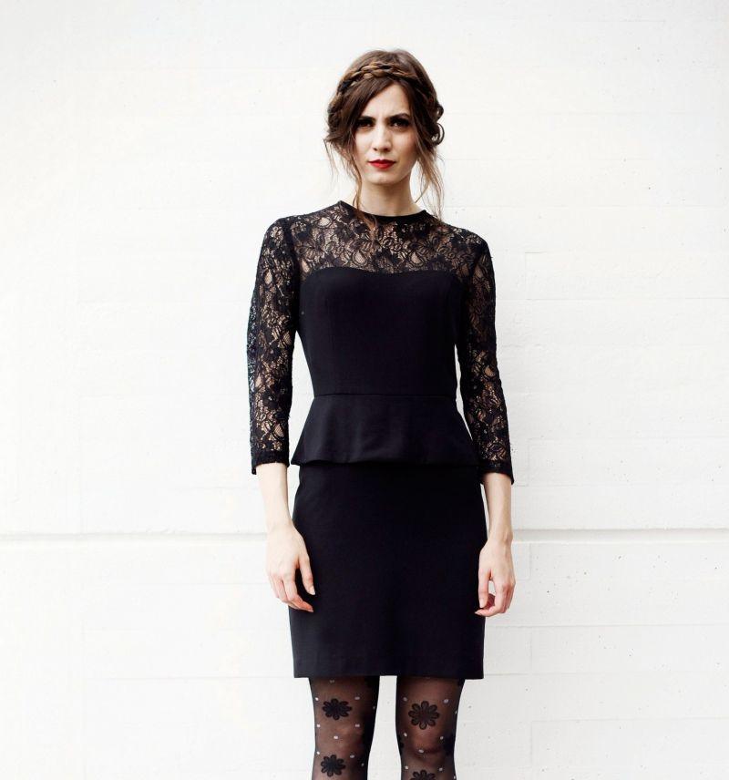Outfit vestido negro corto de noche