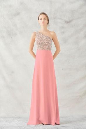 comprar online vestido largo joya asimetrico con cuerpo de pedreria con  falda larga rosa de pparentia b165f6dba8a7