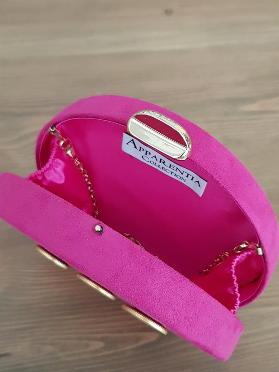Bolso ante rosa fucsia botones