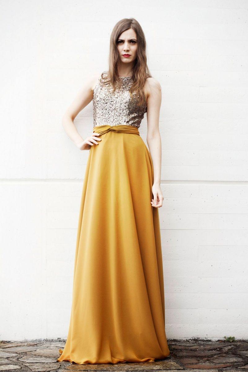 Vestido mostaza para boda