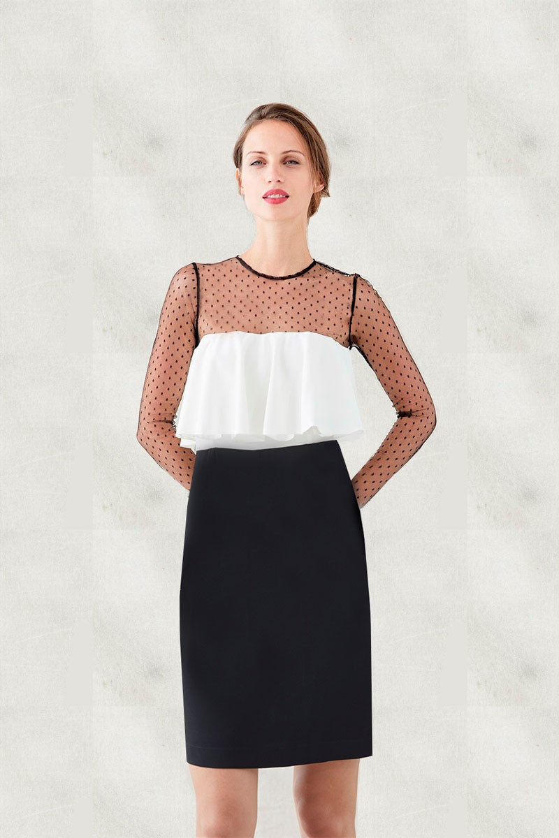 Vestido Corto Blanco Y Negro Plumetti Amalia