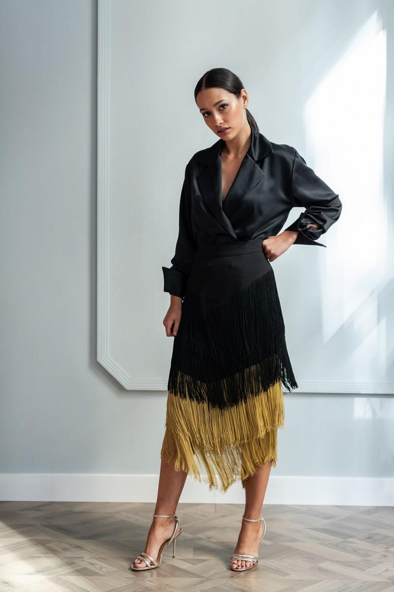 ea714f3c2f comprar online looks para invitadas falda midi de flecos fiestas apparentia