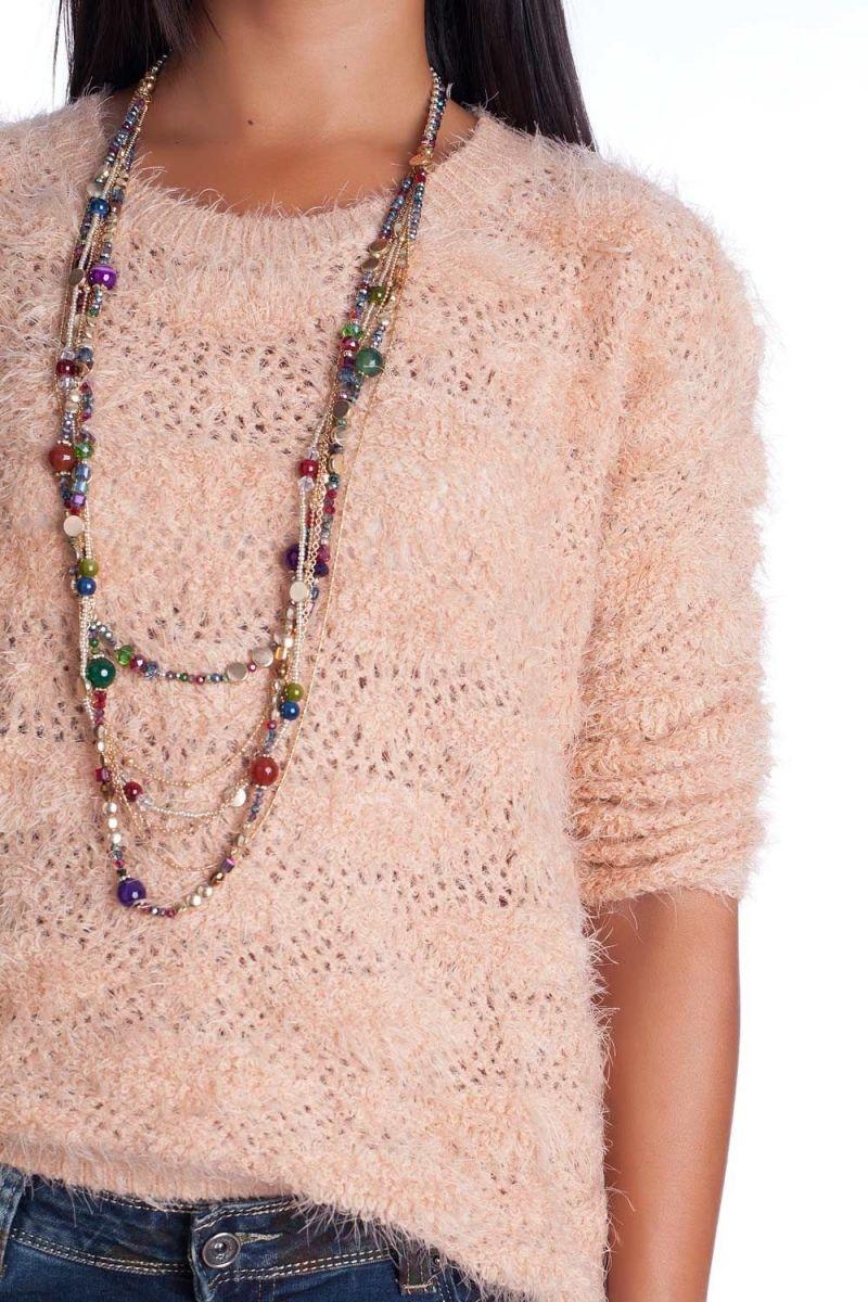 Sueter de punto color rosa palo esponjoso de tacto suave para otono