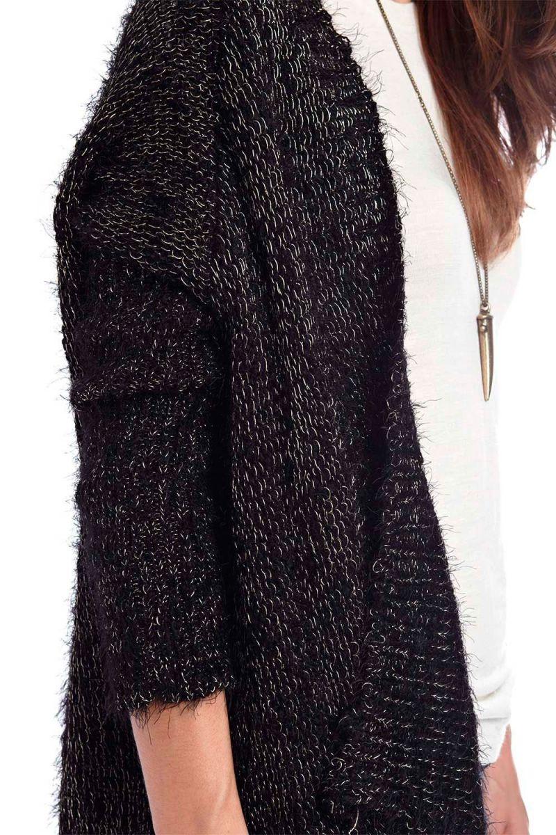 Chaqueta lana negra mujer