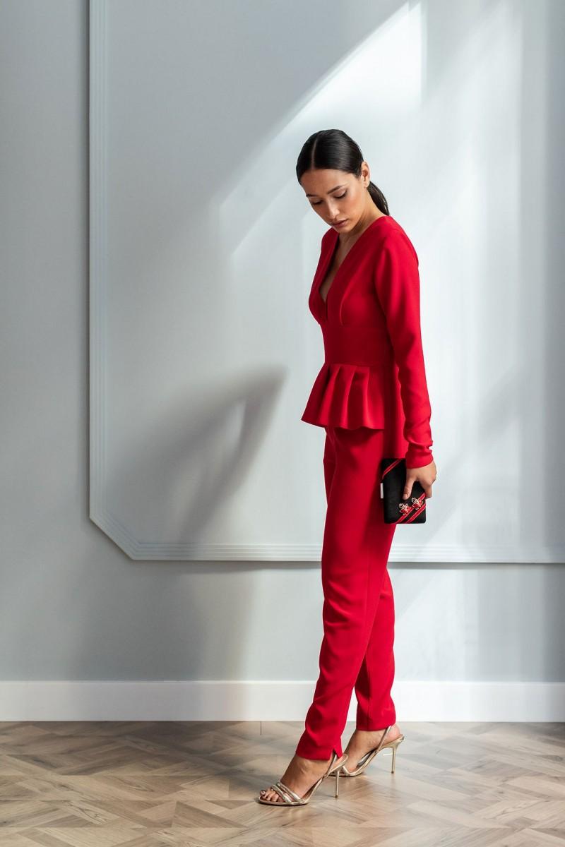 5d17d21e1f11a comprar online mono rojo largo con peplum para invitada eventos fiestas  bautizos comuniones bodas ocasiones especiales