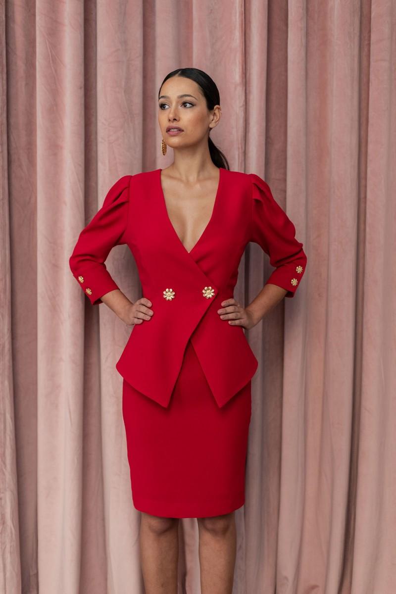 3a3a9ae17 comprar online vestido corto peplum rojo para invitadas fiestas eventos  bodas apparentia
