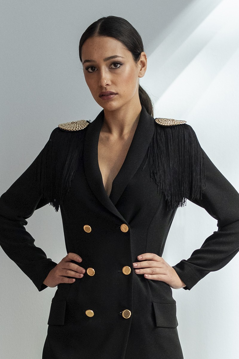 Vestido Omega Hombros Flecos Corto Negro pLzqUMSGV