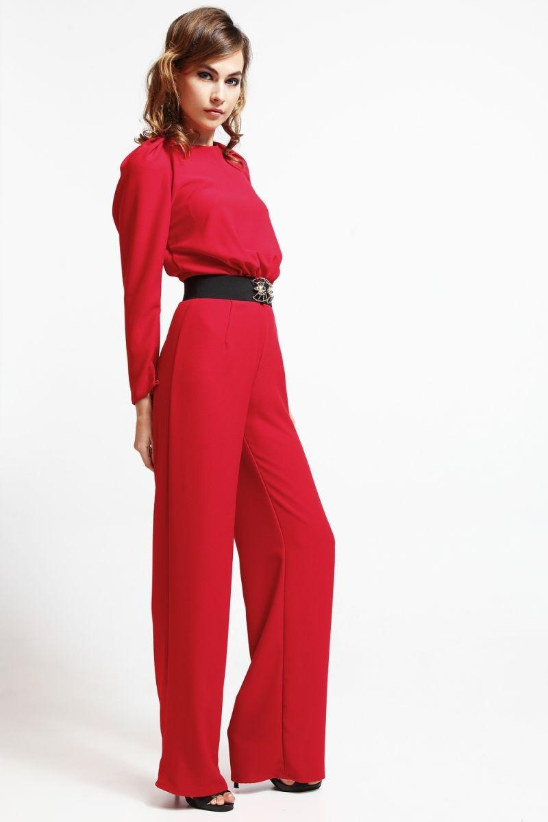 d8de3128083a9 mono rojo escote espalda y mangas abullonadas para boda y nochevieja