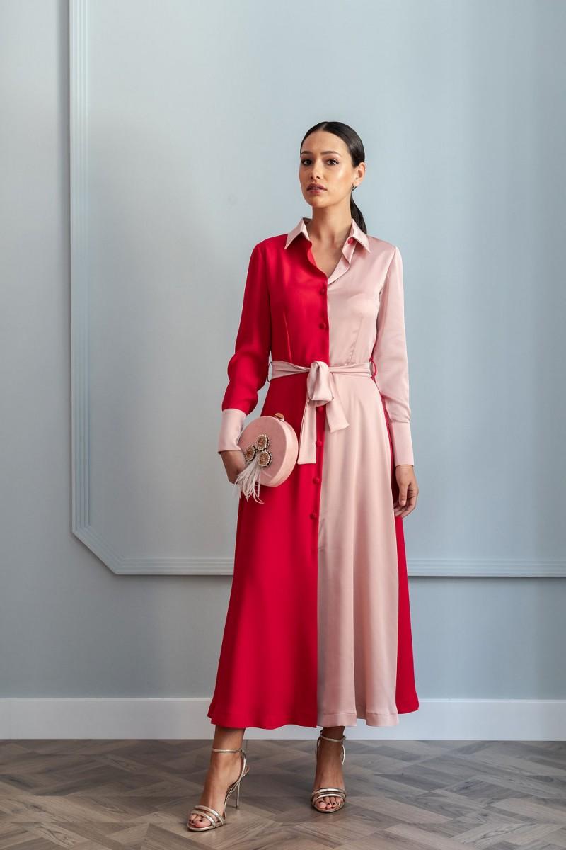 bb40368c9 shopping online vestido camisero midi crepe rojo y rosa manga larga con  cinturon de apparentia invitadas
