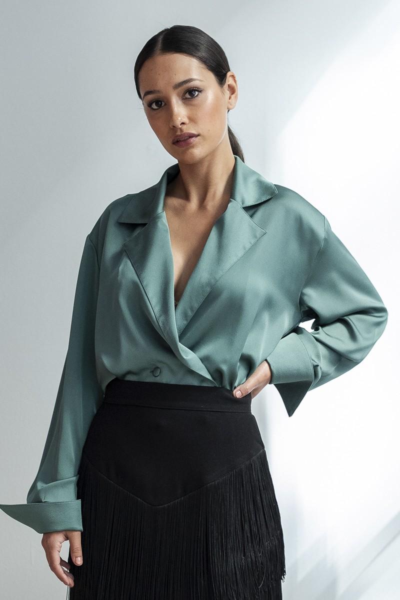 100% de satisfacción Precio de fábrica 2019 clásico Camisa Esmoquin Satén Verde Alyssa