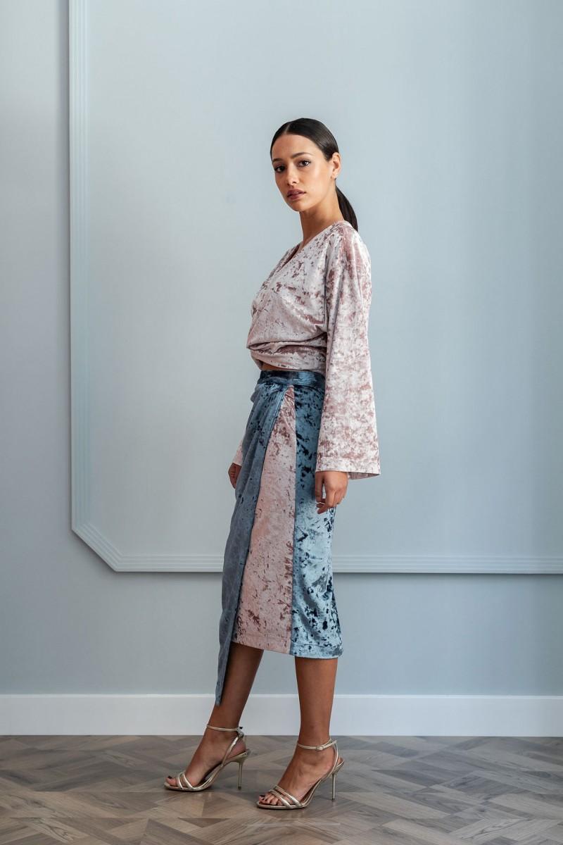 blusa rosa multiposicion terciopelo | Falda de terciopelo