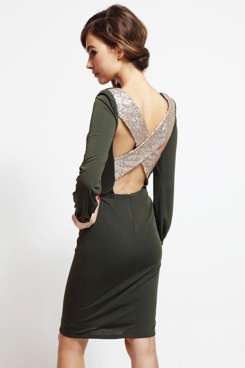 vestido corto de fiesta verde kaki escote espalda cruzada boda y nochevieja