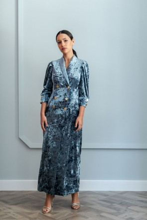 Vestido Color Invitadas De Esmoquin Corte Terciopelo Confeccionado Para Midi Azul Tipo Apparentia Precioso En SZd6xqwAq